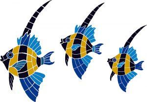 Japanese Fish Group Pool Mosaics