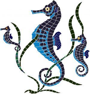 Seahorse Group Pool Mosaics