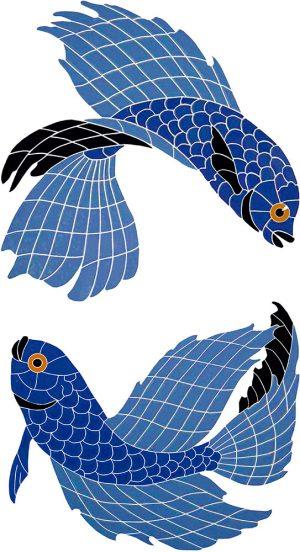 Beta Fish Pair Pool Mosaics