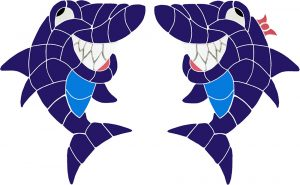 Grinning Sharks Pool Mosaics