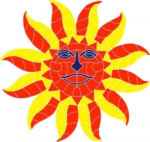 Face Sun Pool Mosaics
