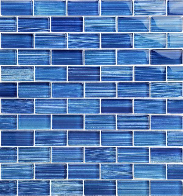 Caribbean Blue 1″ x 2″ (Watercolors Series) Glass Pool Tile