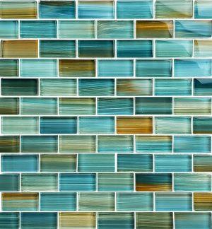 Aqua 1″ x 2″ (Watercolors Series) Glass Pool Tile
