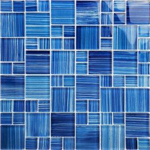 Caribbean Blue Mixed (Watercolors Series) Glass Pool Tile
