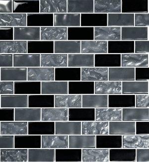 Black 1″ x 2″ (Titanium Series) Glass Pool Tile