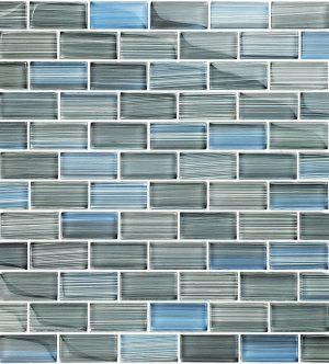 Steel Blue Gray Blend 1″ x 2″ (Watercolors Series) Glass Pool Tile