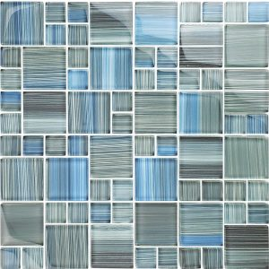 Steel Blue Gray Blend Mixed (Watercolors Series) Glass Pool Tile