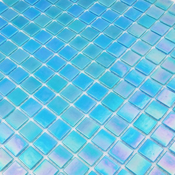 Caribbean Blue Iridescent 3/4″ x 3/4″ (Venetian Series) Glass Pool Tile