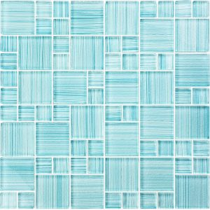 Seafoam Mixed (Watercolors Series) Glass Pool Tile