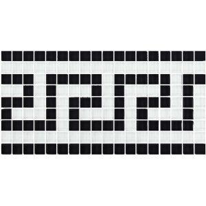 Black White 5/8″ x 5/8″ (Greek Key Series) Glass Pool Tile