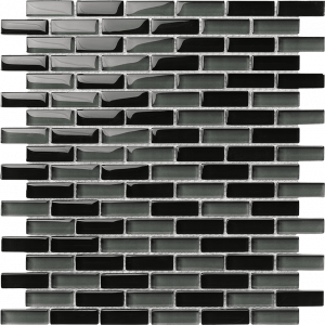 Black & Grey 1/2″ x 2″ (Sea Series) Glass Pool Tile