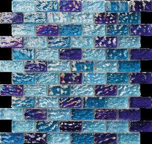 Blue Blend 1″ x 2″ (River Series) Glass Pool Tile