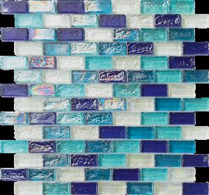 Blue Blend 1″ x 2″ (Ocean Series) Glass Pool Tile