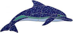 Crystal Level Swimming Dolphin Pool Mosaics
