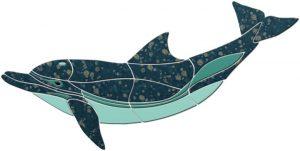 Crystal Up Swimming Dolphin Pool Mosaics
