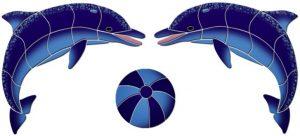 Facing Dolphins Pool Mosaics