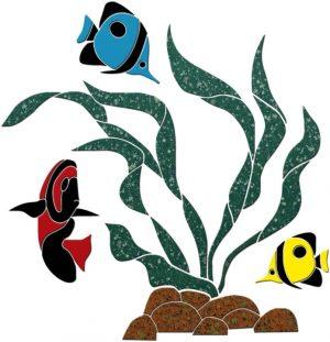Flowing Seaweed with Rocks & Fish Pool Mosaics