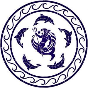 Dolphin & Neptune Medallion Pool Mosaics