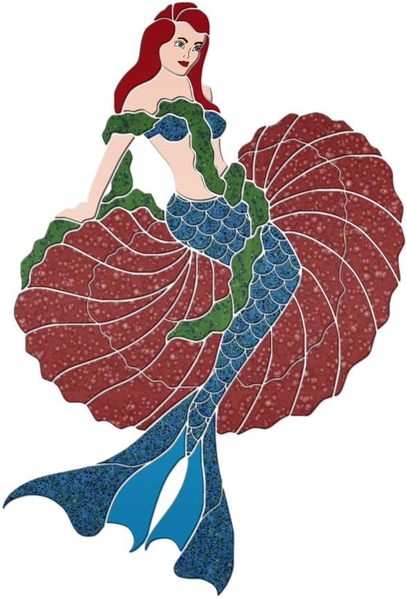 Mermaid in Shell Pool Mosaics