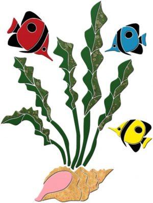 Tall Seaweed & Tropical Fish Pool Mosaics