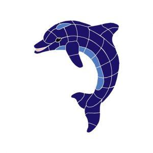 Classic Upward Dolphin Pool Mosaics