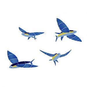 Flying Fish (Set of 4) Pool Mosaics
