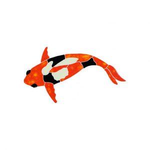 Koi Fish Orange Pool Mosaics