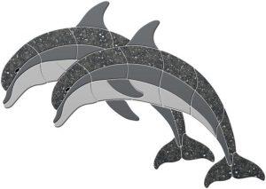 Crystal Double Dolphins Pool Mosaics
