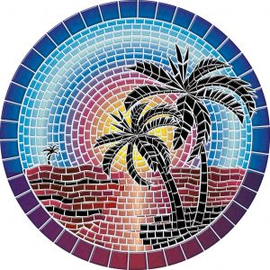 Drop-In Island Sunset Pool Mat Pool Mosaics