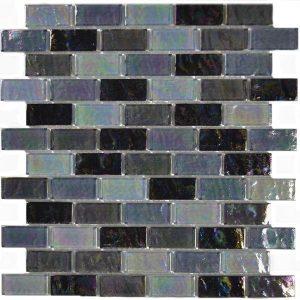 Black Blend 1″ x 2″ (Ocean Series) Glass Pool Tile