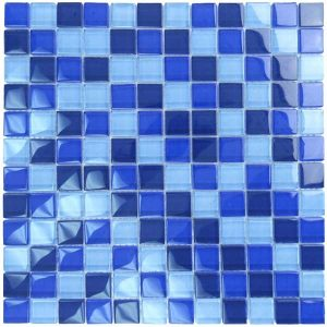 Cobalt Blue Blend 1″ x 1″ (Crystal Series) Glass Pool Tile