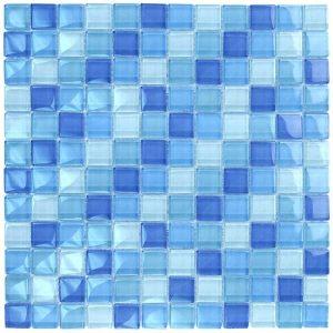 Turquoise Cobalt Blue Blend 1″ x 1″ (Crystal Series) Glass Pool Tile