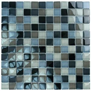 Black Charcoal Gray Taupe Blend 1″ x 1″ (Crystal Series) Glass Pool Tile