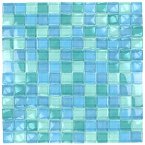 Turquoise Blue Blend 1″ x 1″ (Crystal Series) Glass Pool Tile