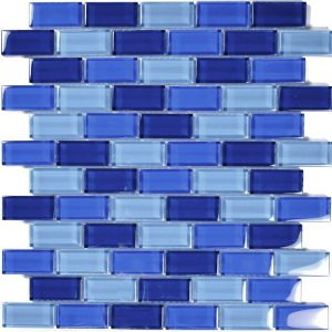 Cobalt Blue Blend 1″ x 2″ (Crystal Series) Glass Pool Tile