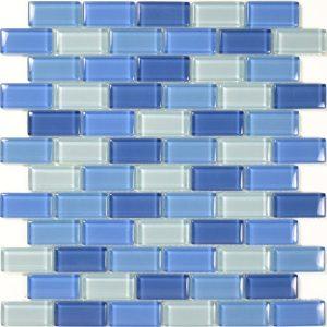 Turquoise Cobalt Blue Blend 1″ x 2″ (Crystal Series) Glass Pool Tile