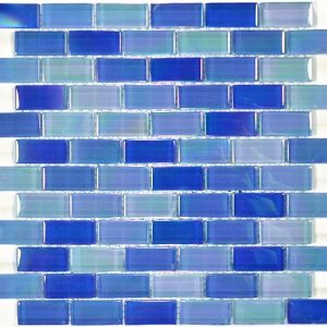 Bright Blue Blend 1″ x 2″ (Crystal Iridescent Series) Glass Pool Tile