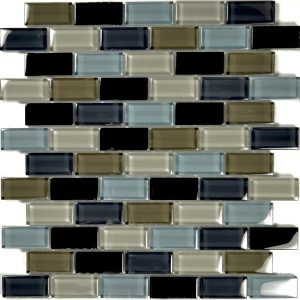 Black Charcoal Gray Taupe Blend 1″ x 2″ (Crystal Series) Glass Pool Tile