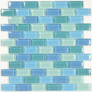 Turquoise Blue Blend 1″ x 2″ (Crystal Series) Glass Pool Tile