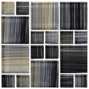Charcoal Mixed (Watercolors Series) Glass Pool Tile