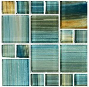 Aqua Mixed (Watercolors Series) Glass Pool Tile