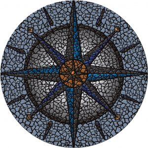 Drop-In Compass Pool Mat Pool Mosaics