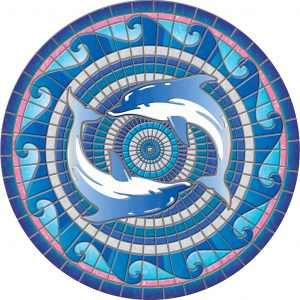Drop-In Dolphins Pool Mat Pool Mosaics