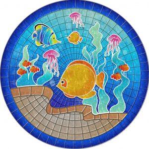 Drop-In Tropical Fish Pool Mat Pool Mosaics