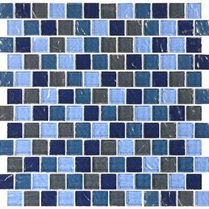 Blue Turquoise Slate Blend 1″ x 1″ (Aegean Series) Glass Pool Tile