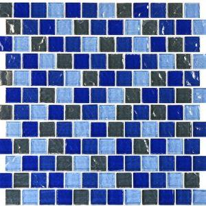 Blue Charcoal Blend 1″ x 1″ (Aegean Series) Glass Pool Tile