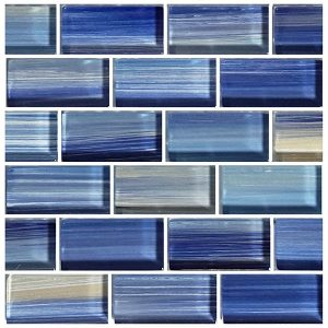 Blue 1″ x 2″ (Watercolors Series) Glass Pool Tile