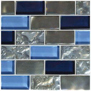 Blue 1″ x 2″ (Titanium Series) Glass Pool Tile
