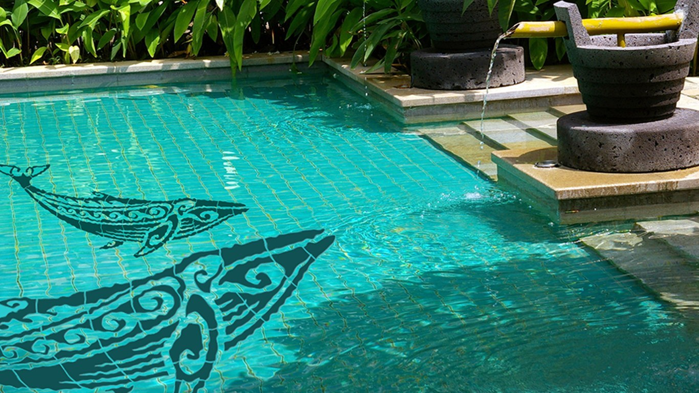 Tribal Humpback Whale Pool Mosaics