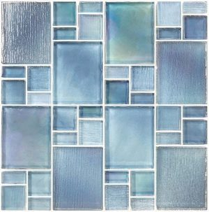 Blue Mixed (Avalon Series) Glass Pool Tile